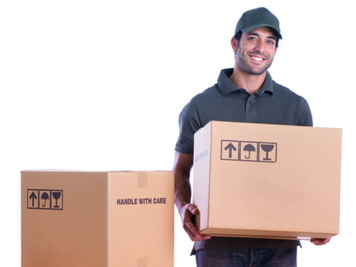 smiling courier holding a box